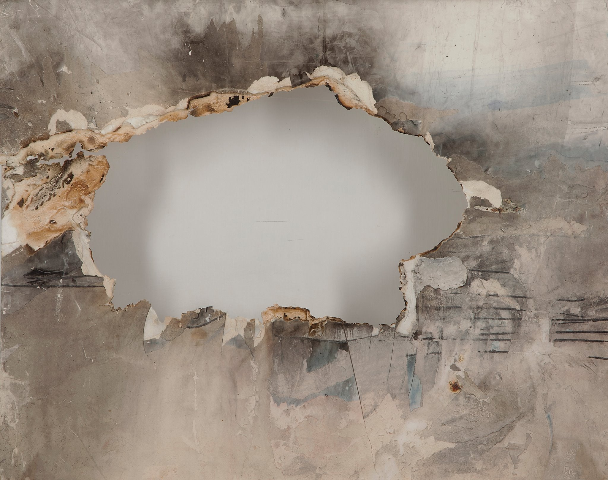 Shaker Hassan al Said, Untitled, 1990s. Mixed media on wood, 86.5 x 104.5 cm.