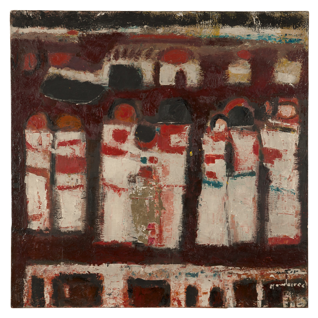 Fateh al Moudarres, Femmes sur le pont, 1966. Oil on canvas, 76 x 78 cm.